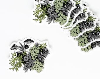 Regrow sticker, waterproof sticker, vinyl sticker, mushrooms sticker, moss sticker, lichen sticker, forest sticker