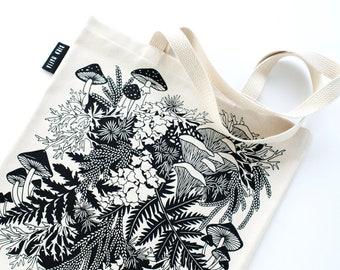 Regrow tote bag, mushroom tote bag, book bag, reusable cotton bag, grocery bag