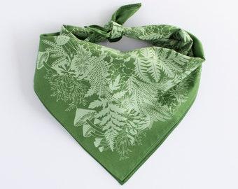 regrow bandana, mushrooms face covering, bandana, face covering, hair band, moss bandana, forest bandana, dog bandana, fern bandana