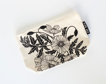 poppies zipper pouch, cosmetic pouch