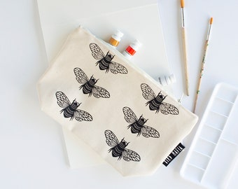 bees zipper pouch, cosmetic pouch