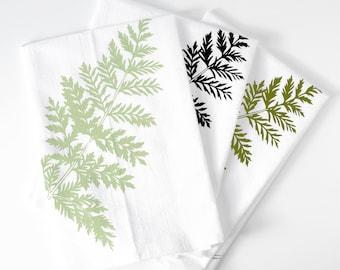 Lady fern tea towel set, mothers day gift set, fern flour sack towels, plant print, plant lover gift, plant lady, botanical tea towel