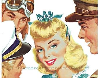 vintage pinup illustration military pilot flirting digital download