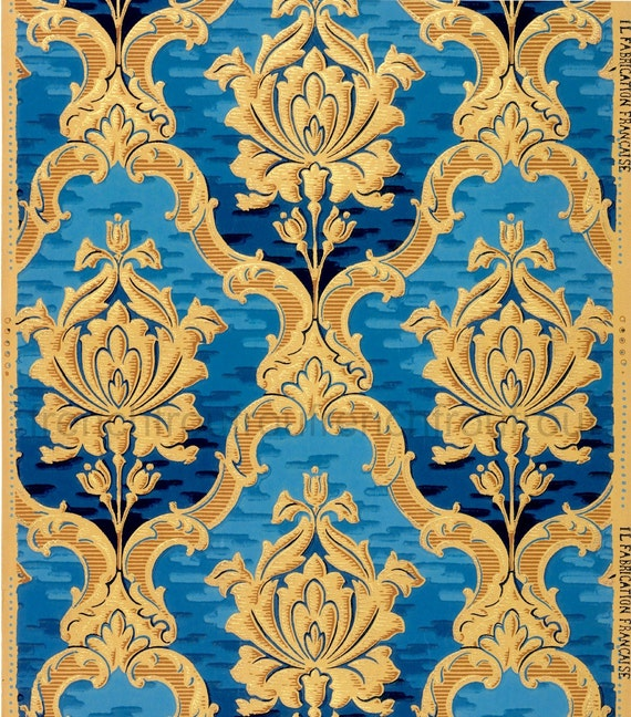 Carta Da Parati Antica.Carta Da Parati Antica Francese Design Ricco Oro Rose Blu In Download Digitale Luigi 15 Th Cornice Illustrazione