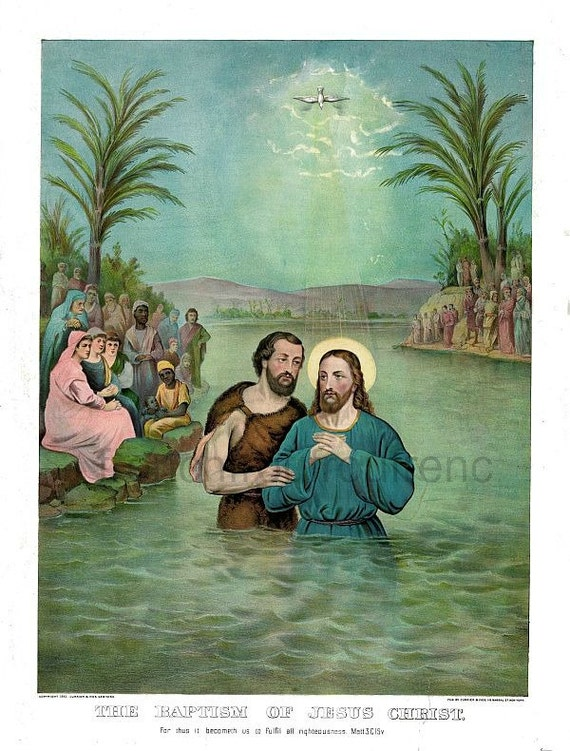 Taufe Von Jesus Christus Antike Illustration Digital Download