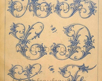 complete embrodery alphabet leaves pattern antique victorian letters digital download