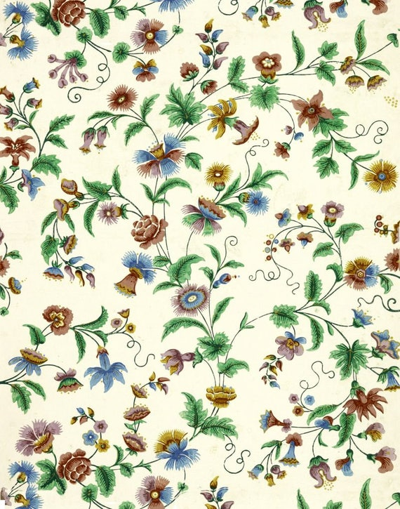 Antique French Chinoiserie Wallpaper Peony And Passion Flower Etsy