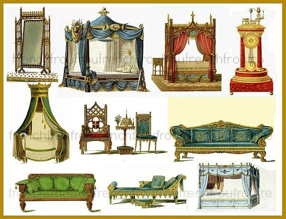 image 0 - Antique Gothic Furniture Illustration Sofa Bed Chairs Clock Etsy