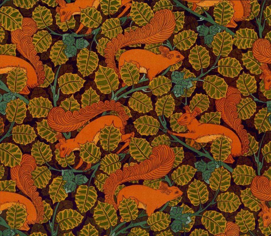 Antique french art nouveau wallpaper design squirrel and ...