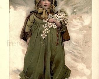 antique victorian children  illustration the christmas rose  DIGITAL DOWNLOAD