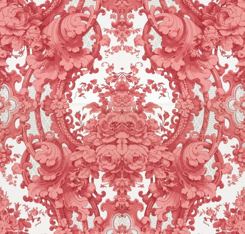 Antique French Chateau Wallpaper Marie Antoinette Style Pink Roses Scrolls And Garlands Illustration