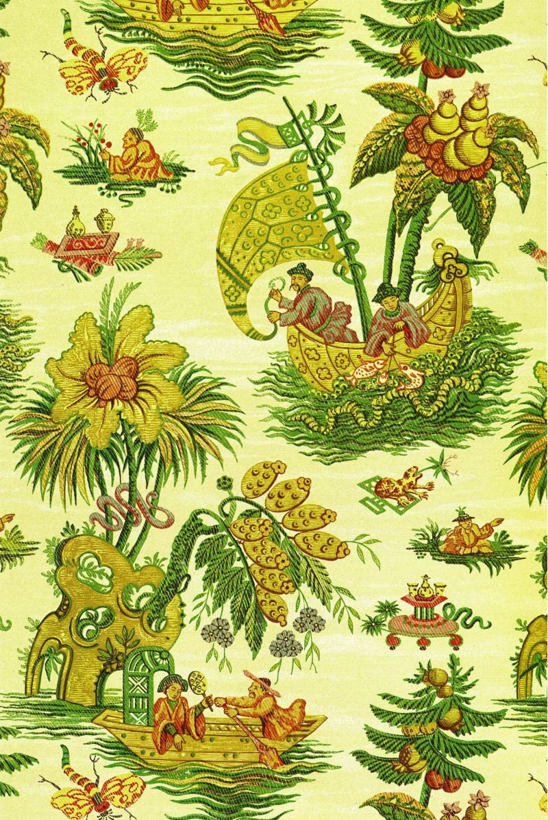 fisherman and coconut tree chinoiserie wallpaper illustration   Etsy