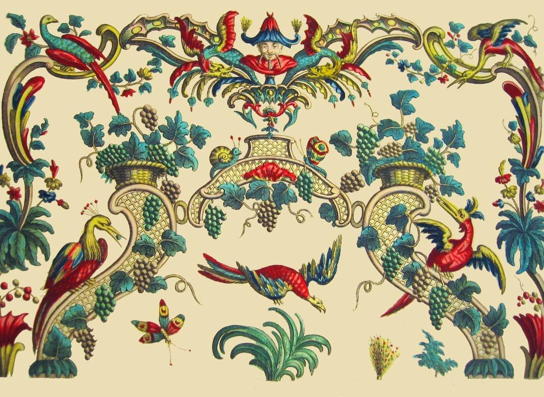 antique french chinoiserie wallpaper illustration phoenix bird   Etsy