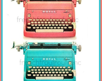 vintage mid century modern pink and turquoise typewriter illustration DIGITAL