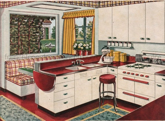 Korina Mitte Jahrhundert Moderne Küche Design Abbildung Digital Download