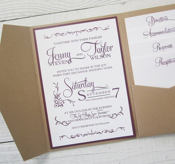 Items Similar To Rustic Kraft Wedding Invitation