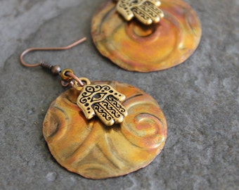Artisan Embossed, Flame Painted Copper and Brass Khamsa Hand Charm Earrings