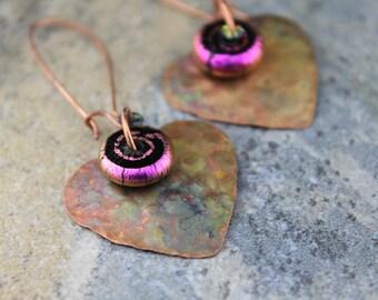 Artisan Embossed, Flame Painted Copper with Paula Radke Dichroic Bead Earrings
