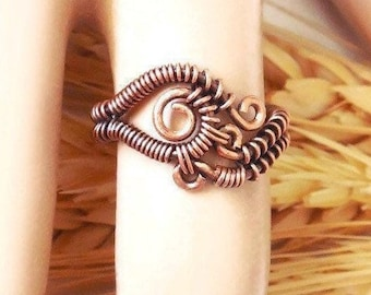Unique copper ring size 6, wirewrap rings, handmade wire jewelry, boho wrap ring, one of a kind rings