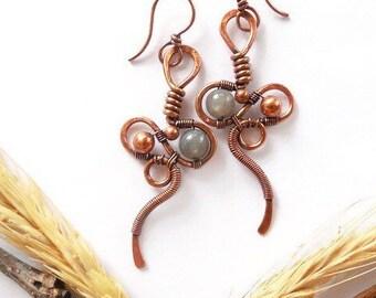 Labradorite statement earrings, crystal wire wrapped statement earrings