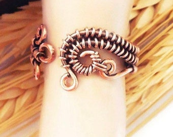 Adjustable wire ring size 8.5, copper wrapped ring, boho copper ring, wire copper rings
