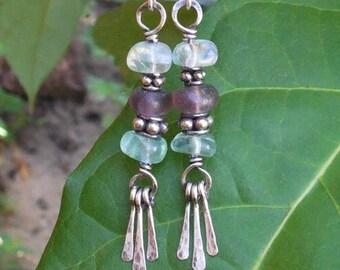 Fluorite earrings, boho dangle earrings, bohemian earrings, bohemian jewelry, boho jewelry, gypsy earrings, silver wire earrings