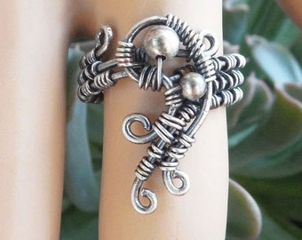 Funky silver ring, Size 7.5 ring, magical jewelry, wire wrapped ring, wire wrapped jewelry, boho rings, boho jewelry, wire wrap rings