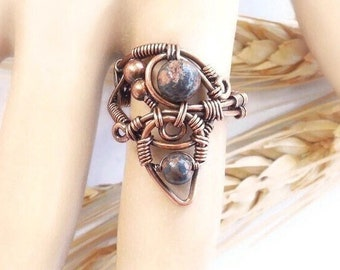 Jasper Ring size 8, tribal statement ring, earthy ring, bohemian rings, boho statement ring