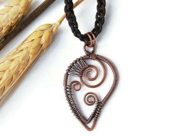 Copper wire necklace, handmade boho necklace, Leaf necklace, unique copper necklace, boho gift, bohemian jewelry
