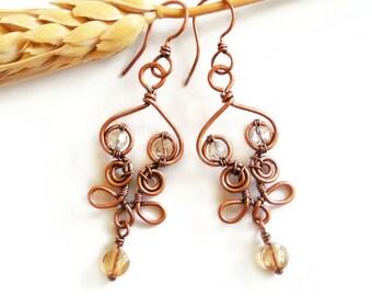 Crystal wire earrings, crystal boho earrings, wire dangle earrings, wire wrap jewelry, mystical earrings
