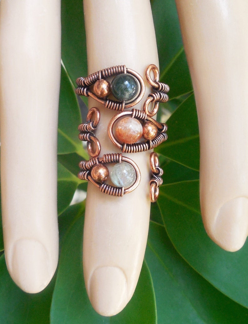 Sunstone ring Moss Agate wire wrapped ring adjustable image 0