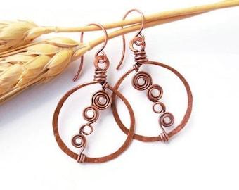 Wire wrapped hoop earrings, copper wire earrings, wire wrapped earrings, boho hoop earrings, copper hoop earrings