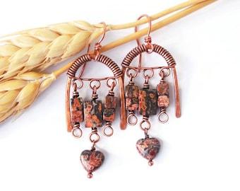 Boho chandelier earrings, wire wrapped boho earrings, tribal statement earrings