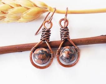 Leopard skin Jasper earrings, stone wire wrapped earrings, stone dangle earrings, rustic stone earrings