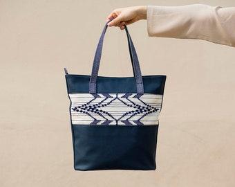 Extended Rhombus / Blue - Handwoven Shoulder Bag