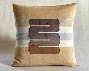 Chromatin Loops / Yellow Ochre - Handwoven Cushion Cover