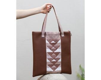 Handwoven geometric shoulder bag with tan brown vegan leather - Sacred Geometry/Burnt  Sienna