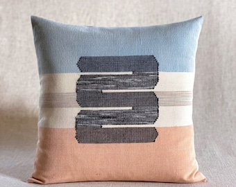 Chromatin Loops / Orange & Blue - Handwoven Cushion Cover