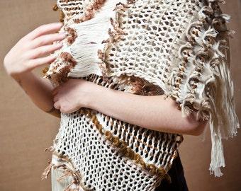 Brown Arete - Handwoven shawl