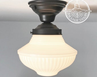 Milk Glass Traditional Light Fixture with Semi Flush Mount -Ceiling Lighting Lamp Farmhouse Repurposed Country Mount Kitchen Glass LampGoods