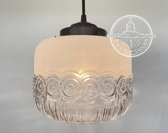 Vintage Frost & Clear ART DECO Globe Made PENDANT New - Flush Mount Ceiling Chandelier Farmhouse Lamp  Kitchen Traditional by LampGoods