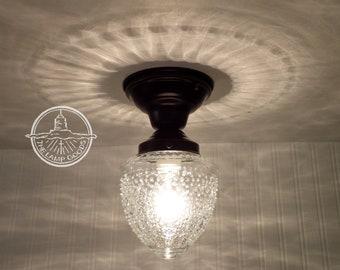 Island Falls. Glass CEILING LIGHT Clear Globe Flush Mount - Lighting Fixture Chandelier Pendant Farmhouse Fixture Fan Kitchen by LampGoods