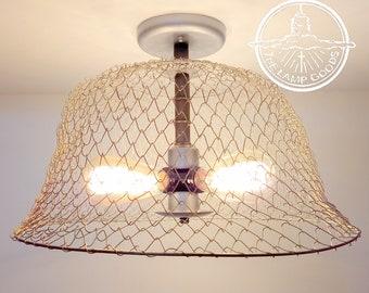 3b40c50d1fc Rustic Wire Basket Ceiling Light- Lighting Fixture Farmhouse Chandelier  Kitchen Edison Bulb Lamp Goods