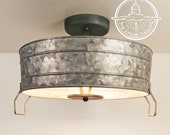 Galvanized Wash Tub Ceiling Light - 3 Sizes - Metal Loft Kitchen Pendant Chandelier Flush Mount Farmhouse Man LampGoods