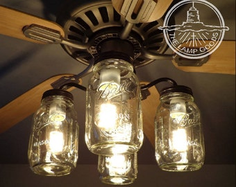 rustic fan light mason jar light mason jar ceiling fan light kit only with new quarts rustic lighting fixture chandelier flush mount pendant farmhouse kitchen by lampgoods vintage pints etsy