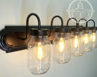 Mason Jar Bathroom Vanity Light Wall Sconce New Quart Trio Etsy