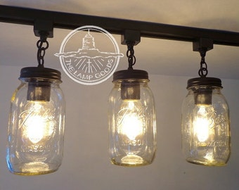 vintage track lighting. Mason Jar TRACK LIGHTING Trio NEW Quarts - Flush Mount Ceiling Light  Fixture Farmhouse Chandelier Fan Country Pendant Lamp FixerUpper Goods Vintage Track Lighting