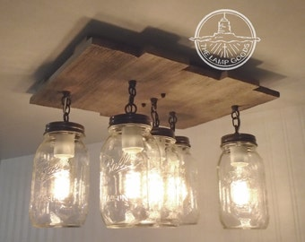Mason Jar Flush Mount Ceiling Light with Reclaimed Wood - Pendant Lighting Chandelier Farmhouse Mason Jar Light Kitchen Wooden L&Goods & Mason jar lighting | Etsy