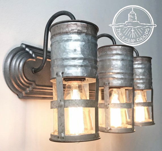 Galvanized Farmhouse Barn Wall Light Vanity Trio - Farmhouse Bathroom  Lighting Fixture Ceiling Chandelier Kitchen Lamp by LampGoods