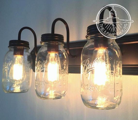Mason Jar Vanity Light: MASON JAR Vanity Light Trio Bathroom Wall Sconce Lighting